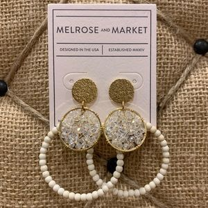 NORDSTROM Gold/White Drop Earrings NWT
